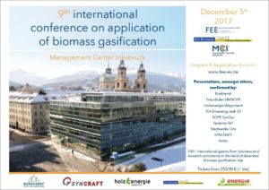 "9th ""Conference on Application of Biomass Gasification"" in Innsbruck, Austria @ Innsbruck, Austria"